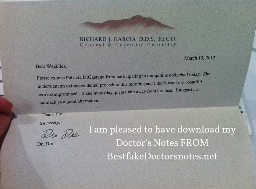 the fake doctors note from a surgeon